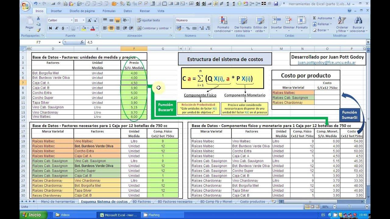 Excel Parte 1 a) - Construcción de un sistema de Costos en Excel ...