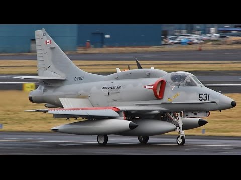 Powerful Canadian Douglas A-4N Takeoff at Prestwick Airport
