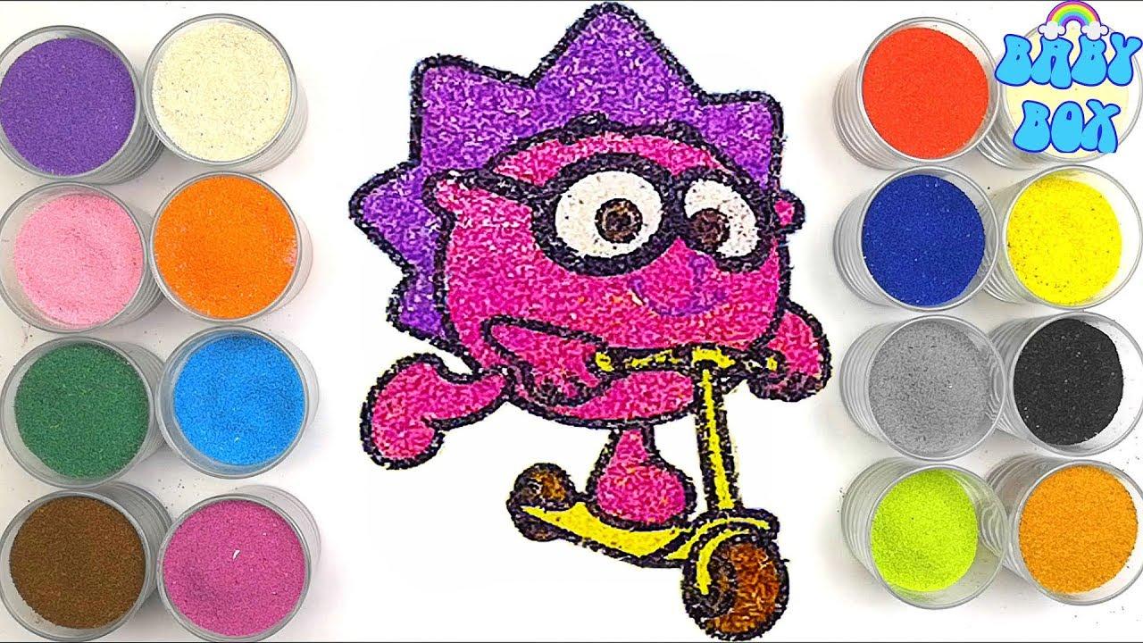 Раскраска для детей Смешарики. Рисование песком. - YouTube