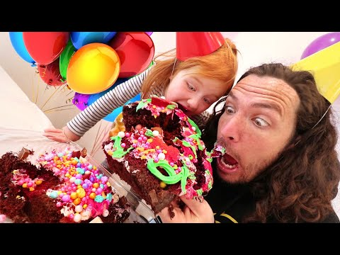 CAKE SURPRiSE PARTY with ADLEY!! Learning to make & decorate birthday cake with Dad  (Mom Hands)