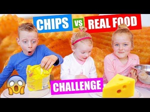 CHIPS vs REAL FOOD CHALLENGE!! ♥DeZoeteZusjes♥