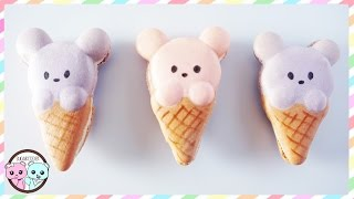 BEAR MACARONS, BEAR ICE CREAM CONE MACARONS - SUGARCODER