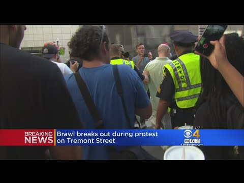 Angry Protesters Scuffled With Police On Tremont Street