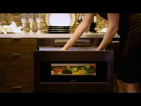 meet the sharp black stainless steel microwave drawer