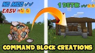 MEMBUAT RUMAH DALAM 1 DETIK !!  - NO MODS !!! || COMMAND BLOCK CREATIONS   || MINECRAFT PE