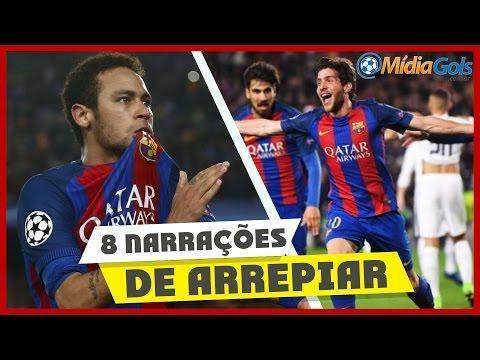 NEYMAR para SERGI ROBERTO e GOL do BARCELONA - OITO NARRAÇÕES - Barcelona 6 x 1 PSG