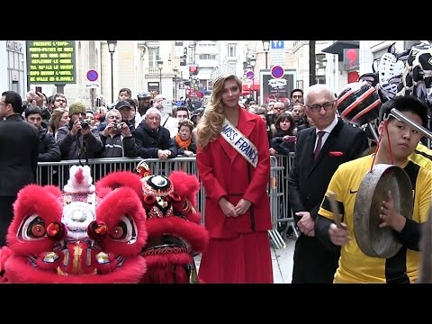 Miss France Camille Cerf Greets fans outside the Printemps Haussmann Store