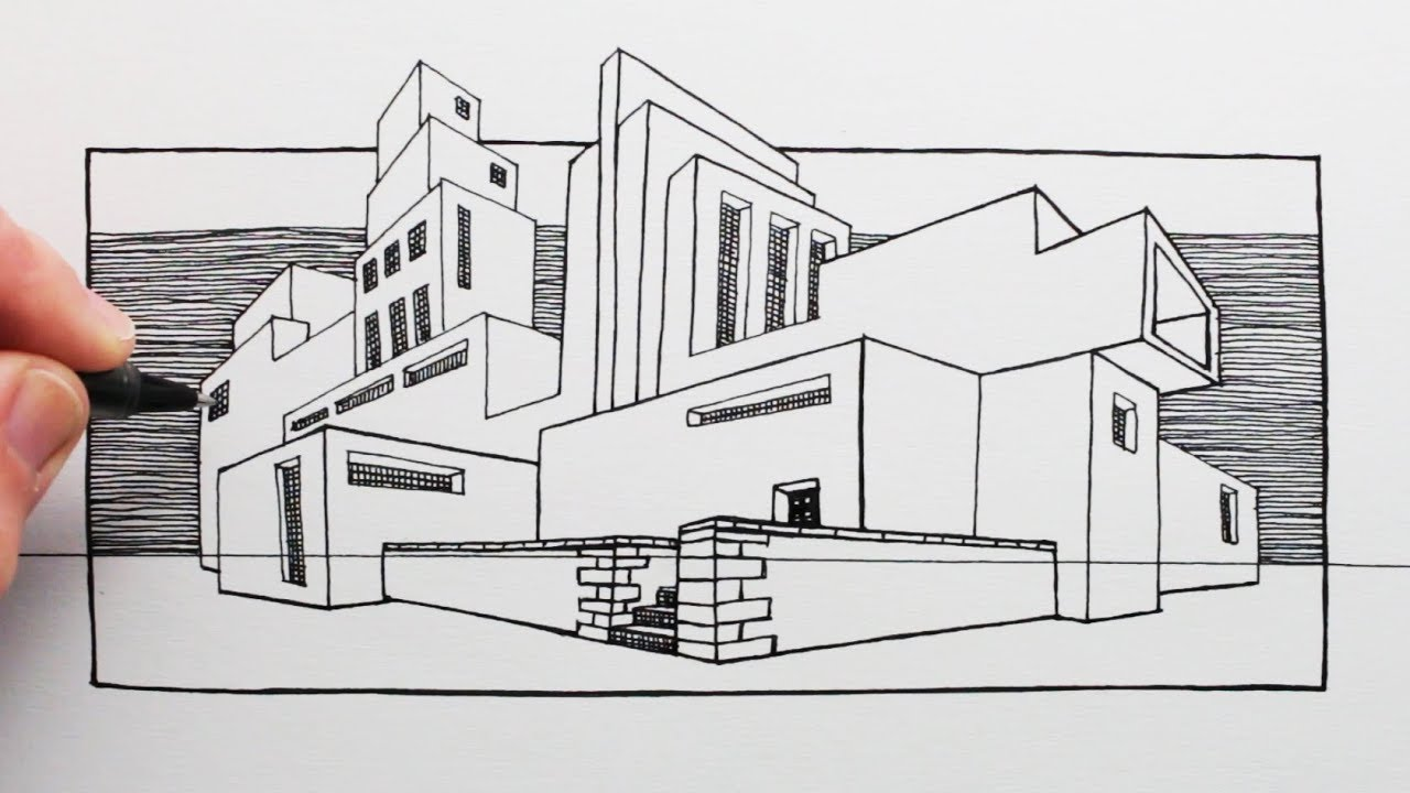 How To Draw A Building In Perspective Mackintosh Style House Youtube