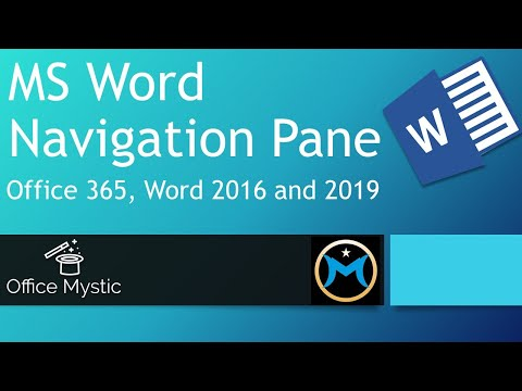 Microsoft Word Navigation Pane: Office 365, Word 2016 and 2019
