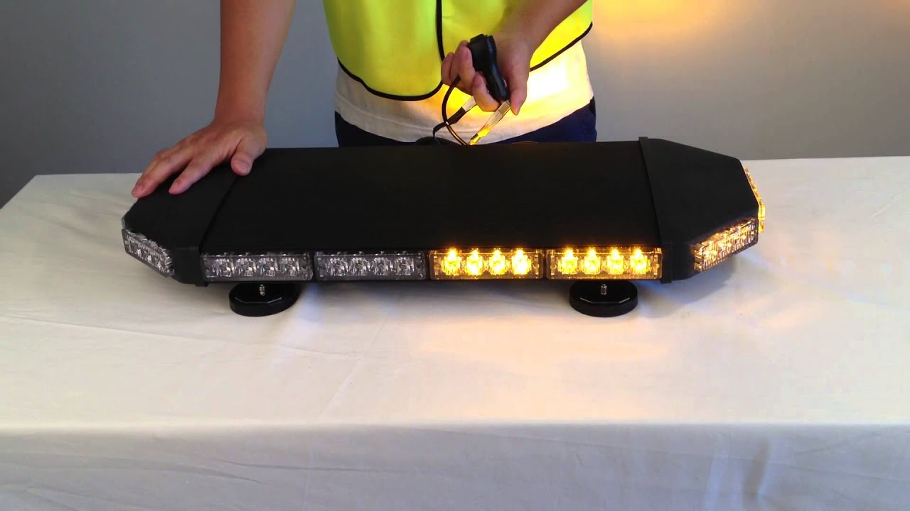 Amber Warning Mini Lightbar Black Color Youtube
