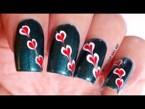 Red Dark Green Flower Nail Art Design