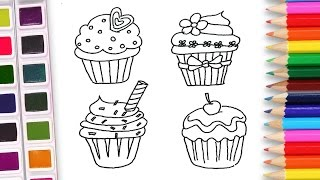 Drawing for kids learn how to draw cupcakes colorful cake coloring pages
