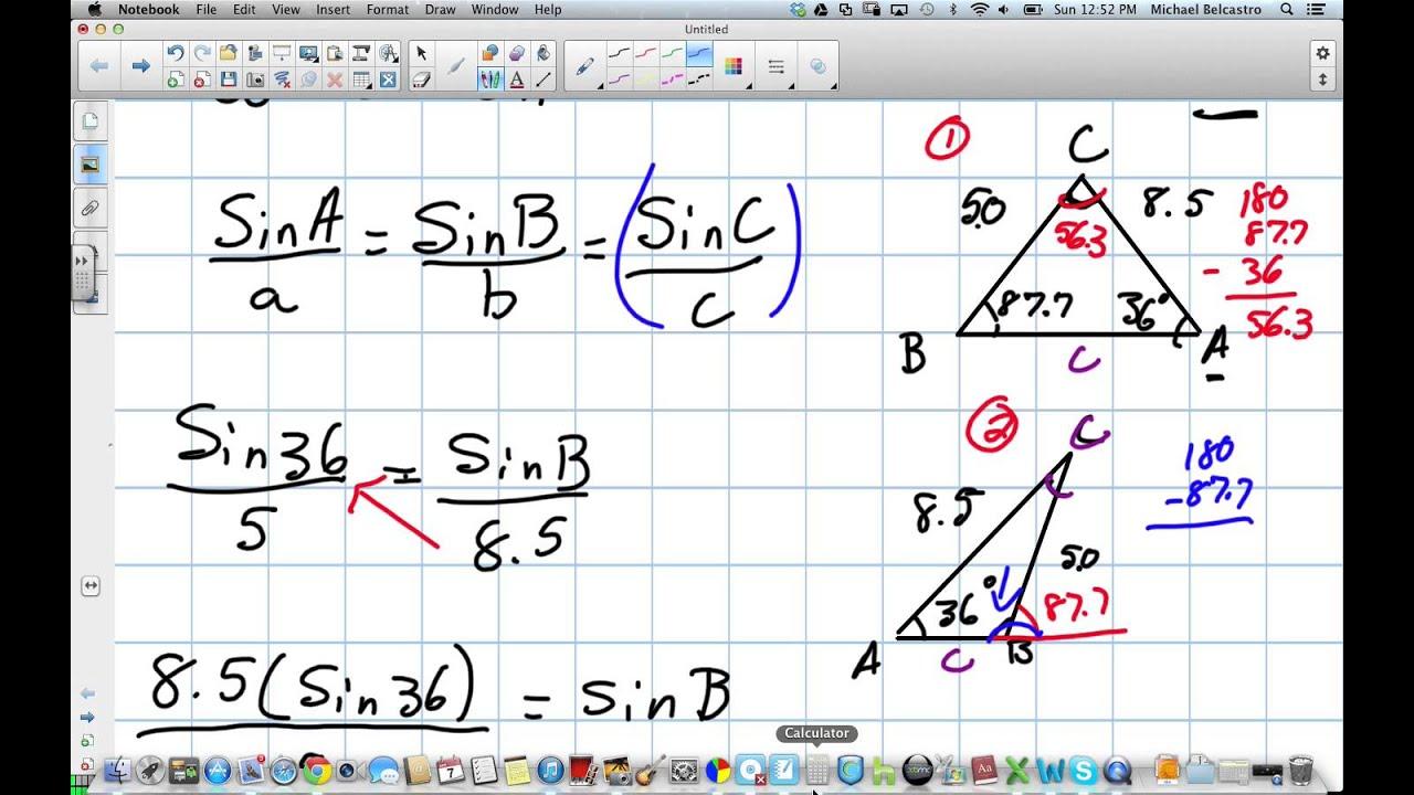 Sine Law The Ambiguous Case Grade 11 University Lesson 5 6 4 6 13