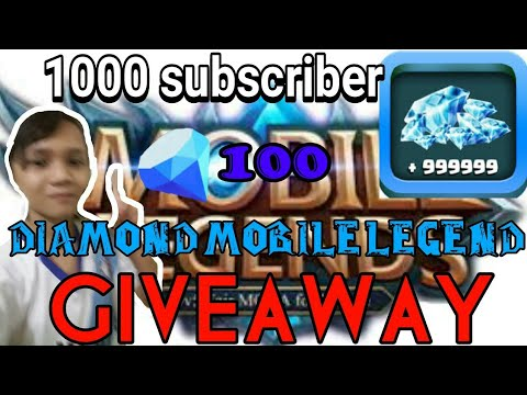 Giveaway diamond mobile legend 100 diamond 1000 subscriber