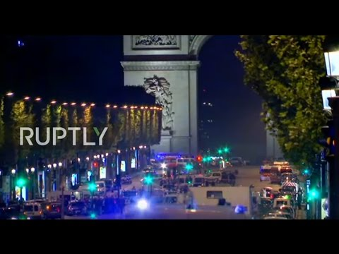 LIVE from Champs-Elysees  after police officer shot dead - pool camera feed