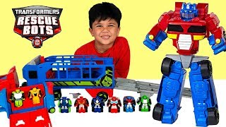 Transformers Rescue Bots Flip Racers Optimus Prime Race Track Trailer Unboxing Fun With TBTFUNTV