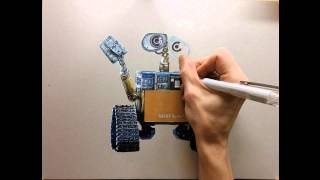 drawing time lapse - hyperrealistic art : how to draw wall-e