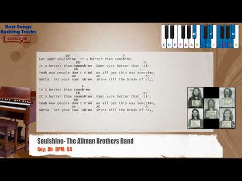 Soulshine - The Allman Brothers Band Piano Backing Track with chords and lyrics