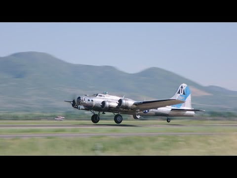 """B-17G Flying Fortress """"Sentimental Journey"""" flying at Heber City Municipal Airport"""