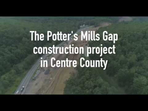 Route 322 Potters Mills Gap construction project in Centre County: Drone footage