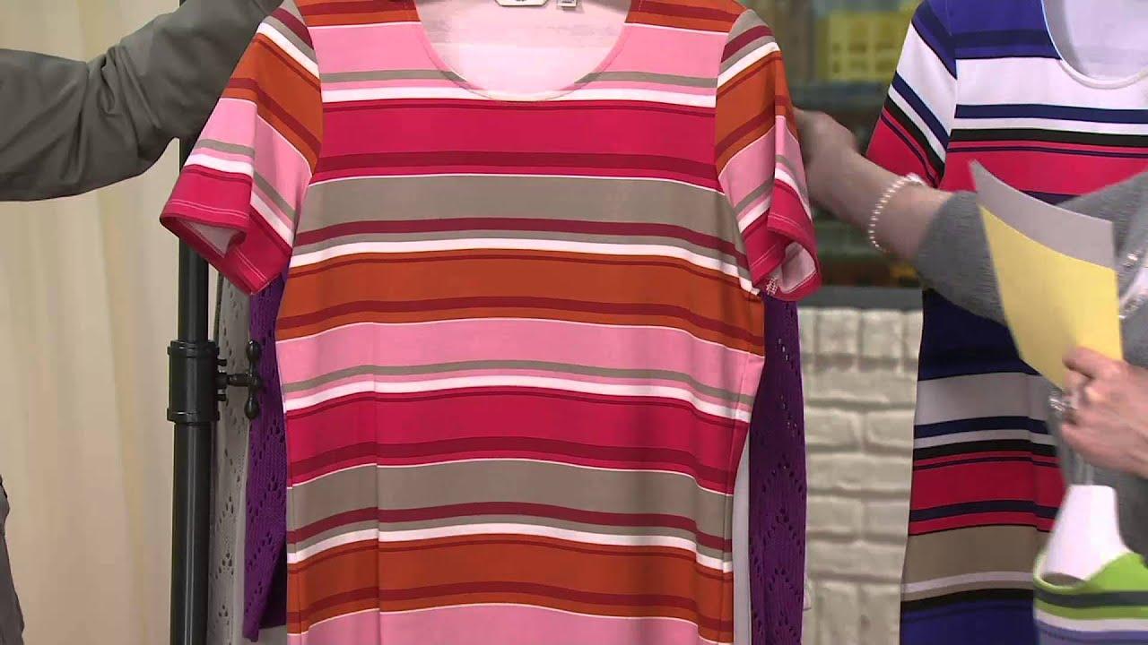 Liz claiborne new york scoop neck short sleeve striped t for Liz claiborne v neck t shirts
