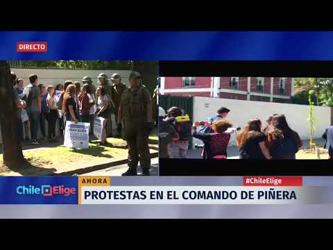 Protestas en el comando de Sebastián Piñera