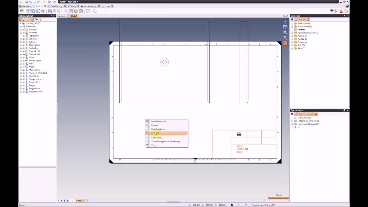 Zeichnungsrahmen und Schriftfeld TopSolid 7 - YouTube