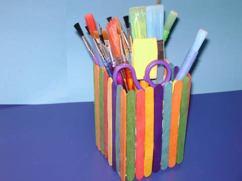 Back to school crafts popsicle stick pencil holder youtube for Hand works with waste things