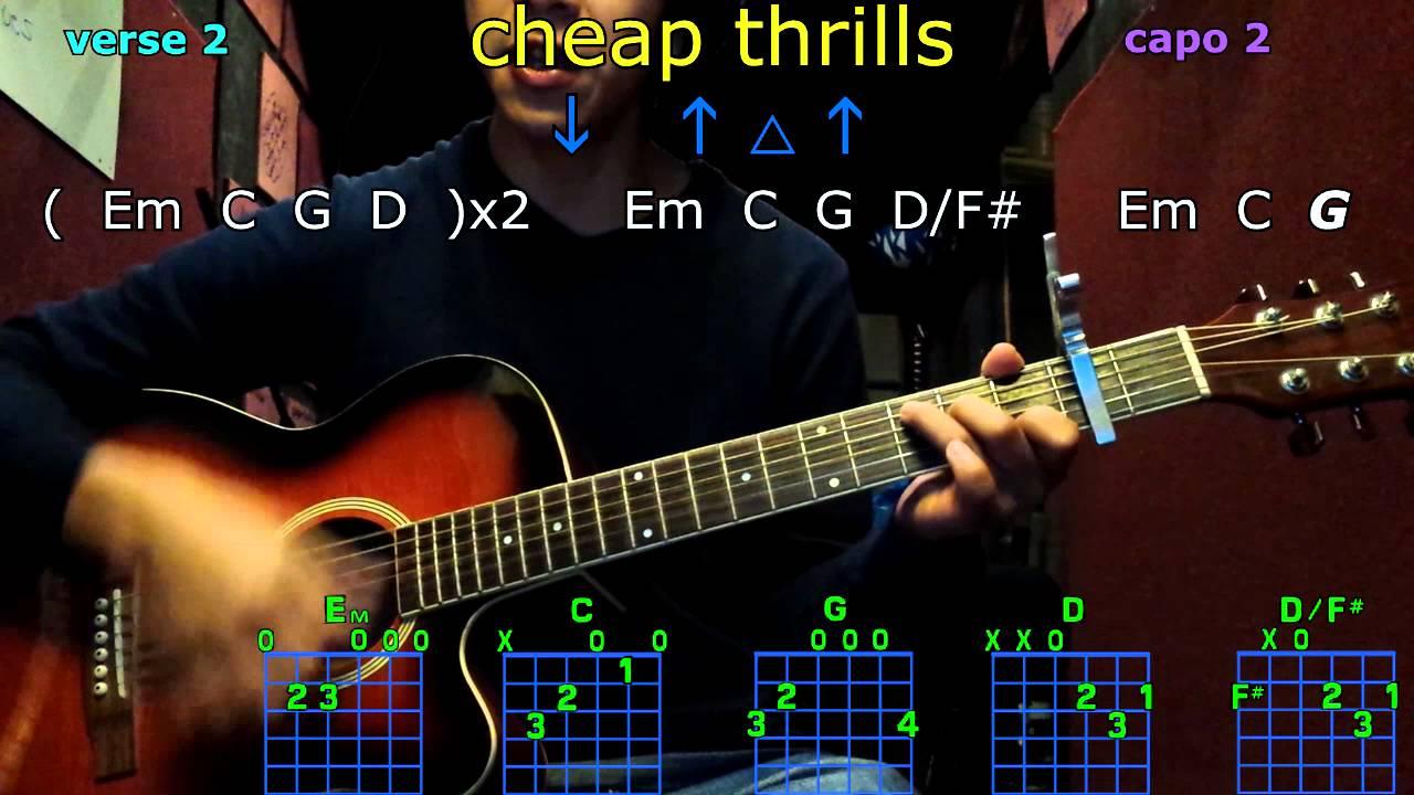 Cheap Thrills Sia Guitar Chords Youtube