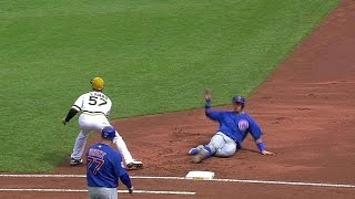 CHC@PIT: Pirates double oḟf Baez with appeal