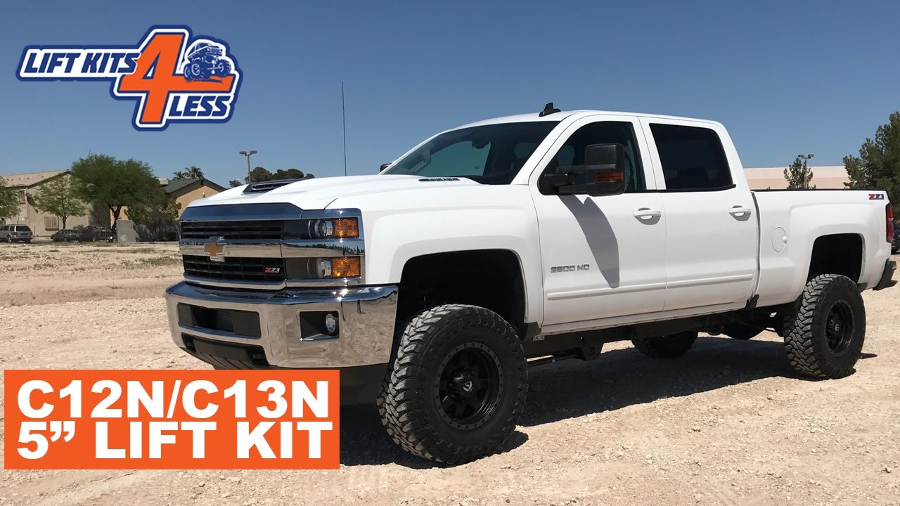 zone offroad c12n c13n 5 lift kit 2011 18 chevy 2500 3500 product preview with before after  [ 1280 x 720 Pixel ]