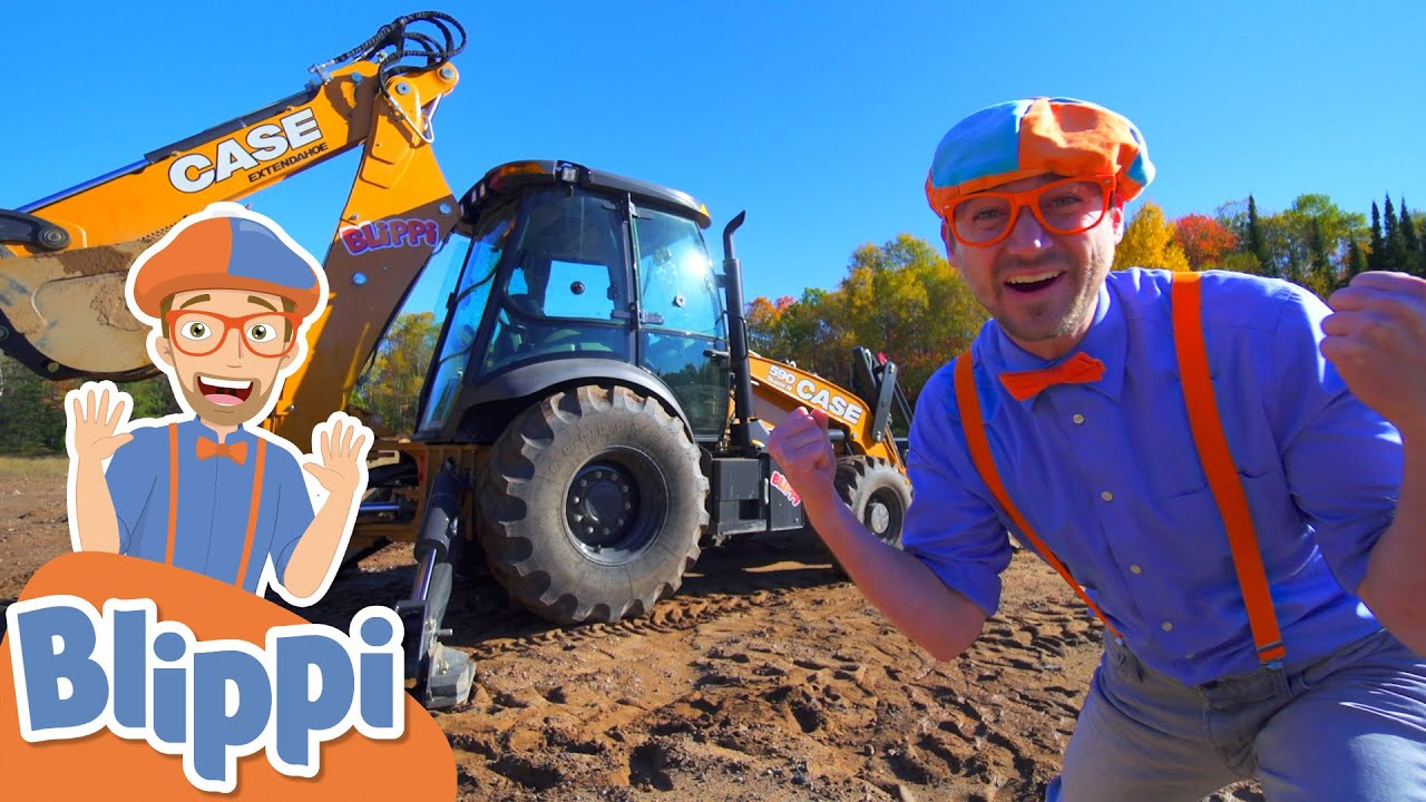 Blippi Learns About Diggers & Construction Vehicles! | Educational Videos For Kids