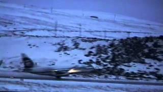 Alaska Air Taking Off from Adak, AK  1-23-95