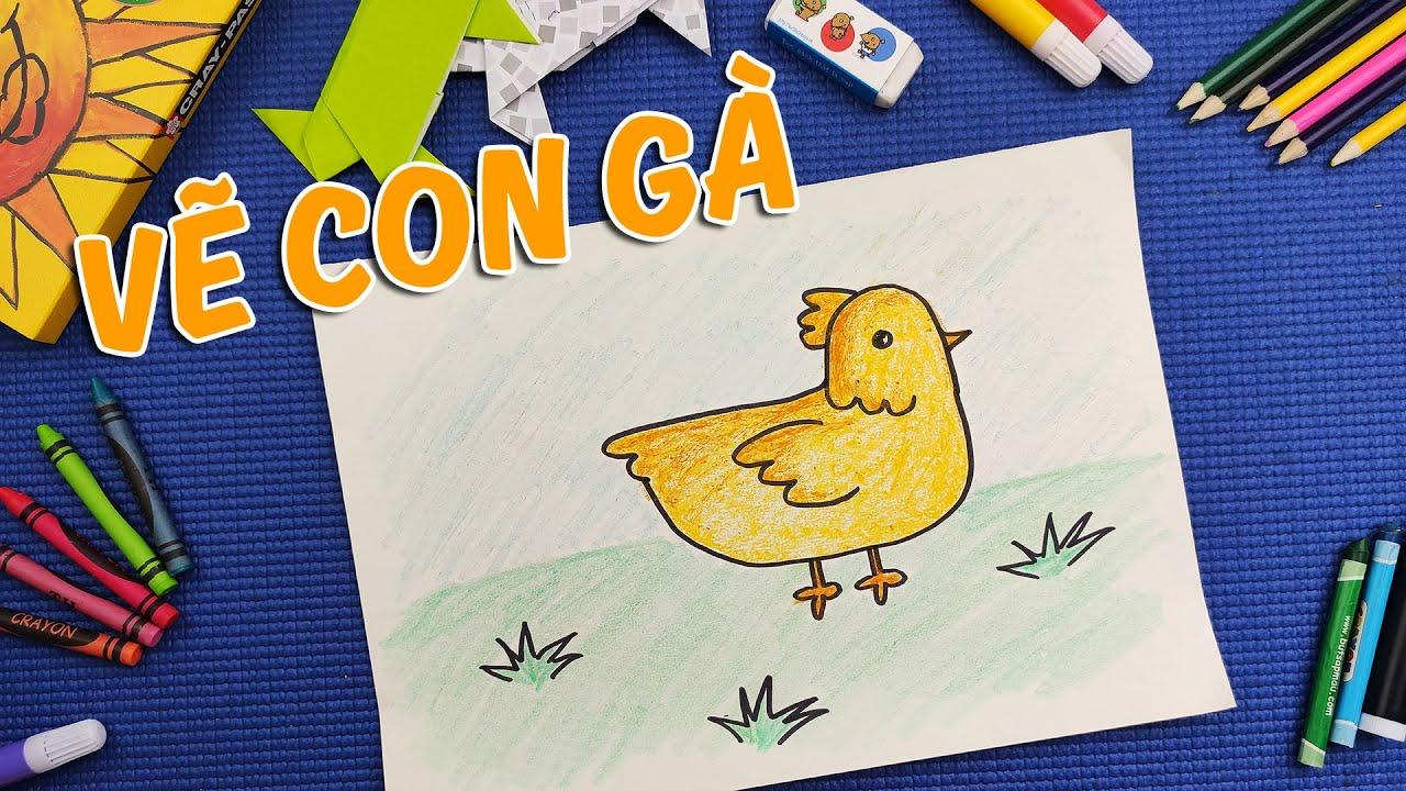 Hướng dẫn vẽ con gà mái dễ thương đơn giản bằng bút sáp màu và bút dạ – Họa sĩ Chì Đỏ