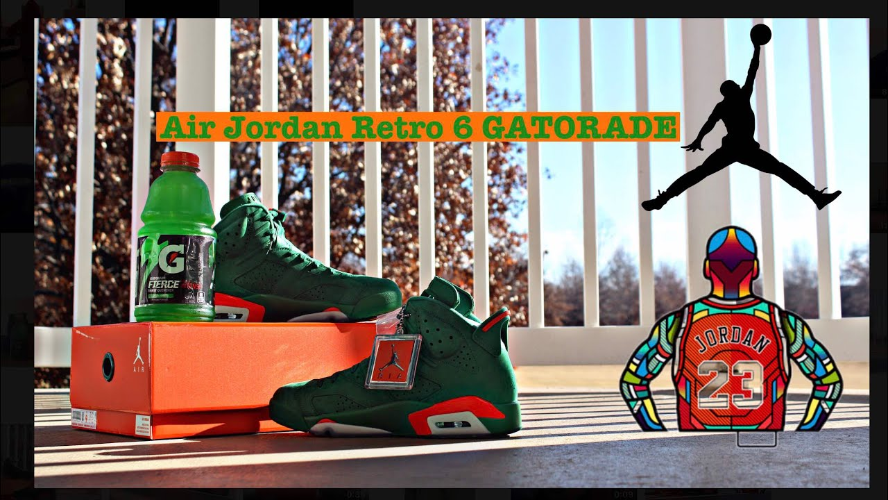 best service ee6fc bcc0b Air Jordan 6 Gatorade   green Suede   Unboxing Review