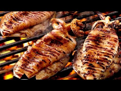 SQUID CLEANING METHOD STEP BY STEP 🦑🦑/GRILLED SQUID 👌😋😍