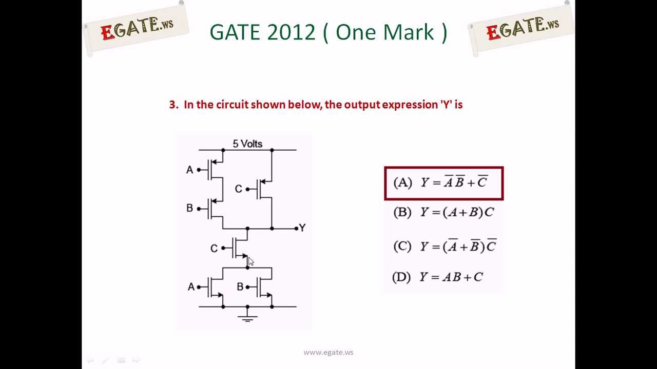 Problem On Complex Cmos Logic Gates Gate Ece 2012 Solved Paper Basic Transistor Circuits Http Wwwpowerguruorg Bipolarjunction Electron Devices