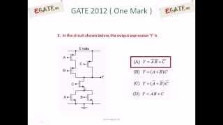 Problem On Complex Cmos Logic Gates - Gate Ece 2012 Solved Paper (electron Devices)