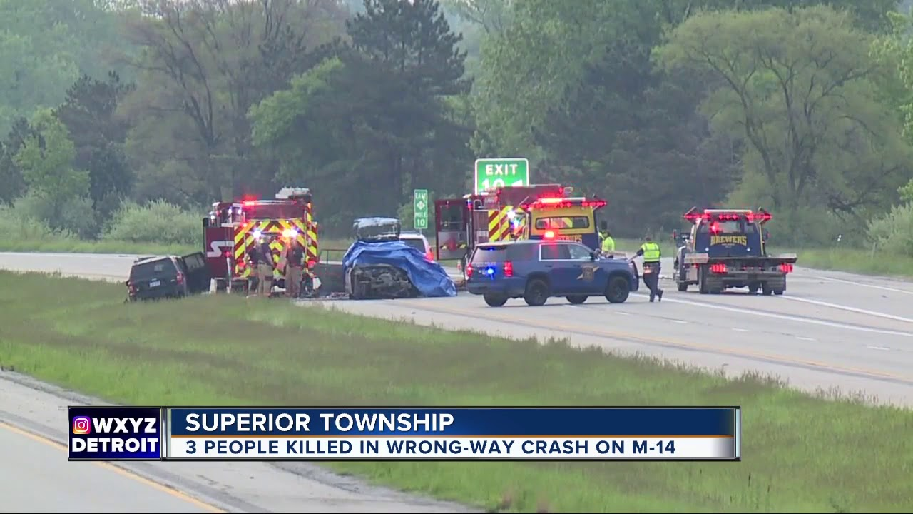 3 killed in wrong-way crash on M-14 in Superior Township