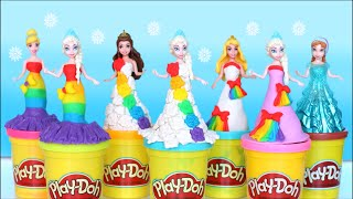 play doh video rainbow dresses maker princess dress up disney frozen elsa play doh 2016