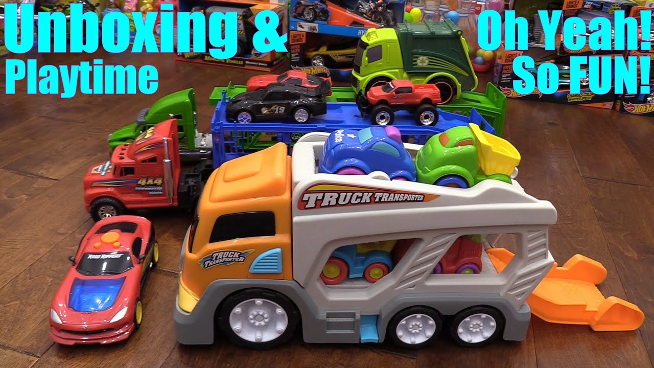 Toy Cars and Trucks for Children Kid Connection Car Carrier Truck