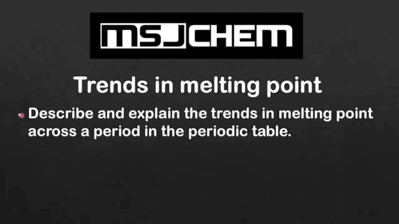 32 Trends In Melting Point Sl Youtube