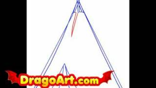 How to draw a teepee, step by step