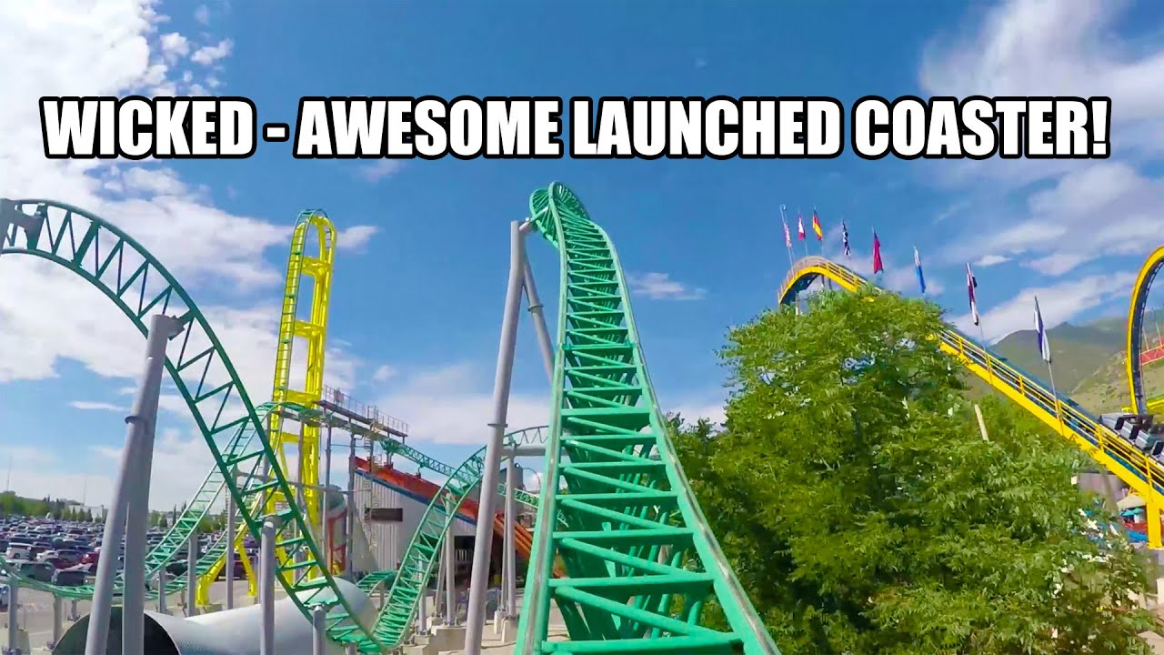 Wicked Launched Roller Coaster POV Lagoon Amusement Park Utah ...