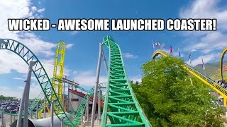 Wicked Launched Roller Coaster POV Lagoon Amusement Park Utah 60FPS
