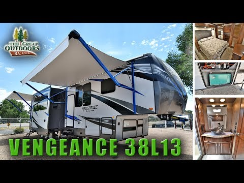 2018 Luxury Toy hauler VENGEANCE 38L13 Loft Rear Patio Deck Camper RV Fifthwheel