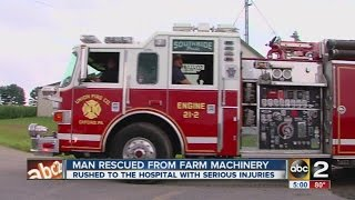Man gets leg stuck in farming equipment