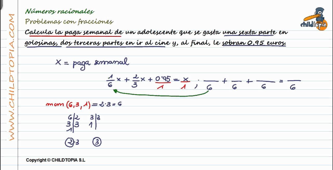 Números Racionales: Problemas con fracciones. 3º de ESO matemáticas ...