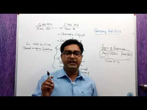 Company Act,2013 .5. FORMATION OF COMPANIES WITH CHARITABLE OBJECT SEC 8 COMPANY  DORMANT COMPANY