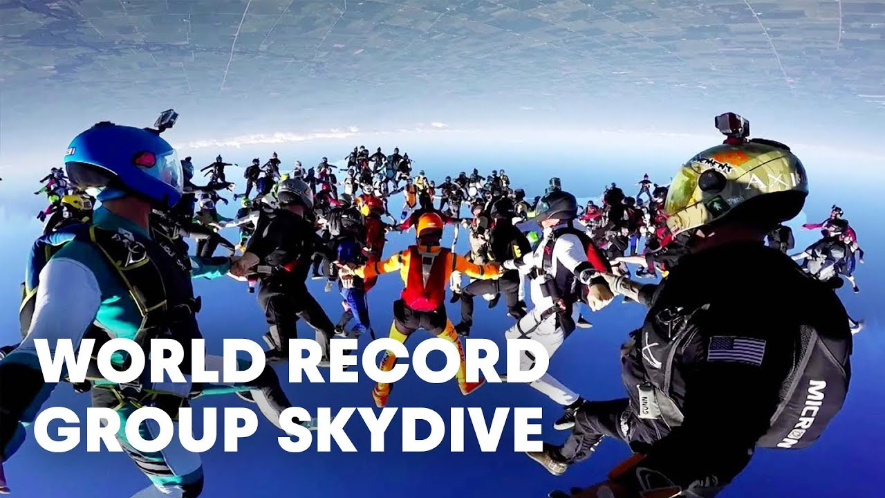 World Record Group Skydive 164 Person Formation